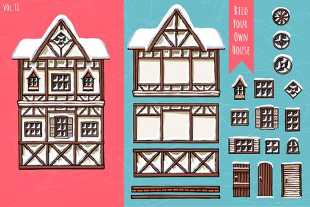 German houses, collection of elements, itemset, roof, windows, doors. Winter seasons snow for postcard design posters background game. Hand drawn vector illustration. Stock Illustratie