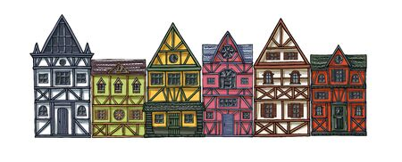 German houses cartoon collection urban landscape front view of European city street colorful building facades. Hand drawn vector illustration sketch style. Çizim