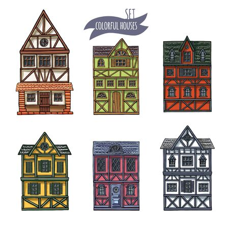 German houses cartoon collection urban landscape front view of European city street colorful building facades. Hand drawn vector illustration sketch style.