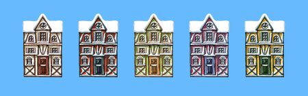 Colorful german houses cartoon collection urban landscape front view of European city street building facades. Winter snow seasons. Hand drawn vector illustration sketch style.
