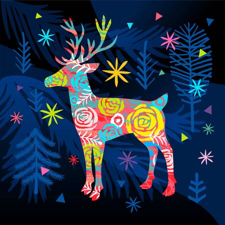 New Year forest landscape colorful ornament deer greeting cards.