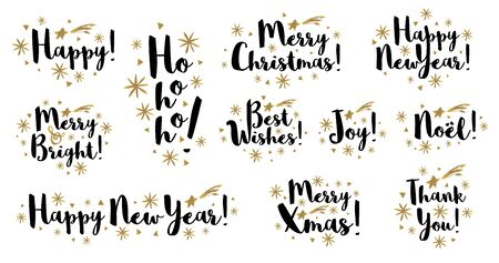 Noel Merry Christmas, Happy New Year brush stroke typography emblems lettering logo text greeting cards.