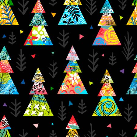 Christmas tree colorful seamless pattern stars snowflakes.