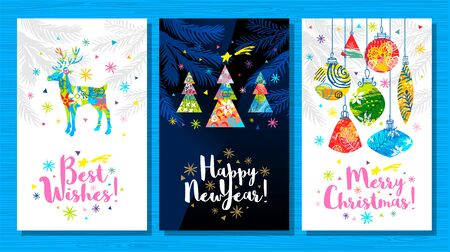 Noel, Best Wishes greeting cards. New Year, Christmas tree branches decor. Seasons decoration design pattern background, package, cover, banner. Hand drawn vector illustration.