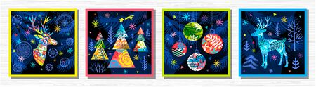 Happy New Year, Merry Christmas, Noel colorful greeting banner. Christmas tree branches decoration ball snowflakes frost stars deer ornament pattern. Hand drawn vector illustration.