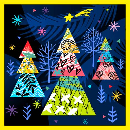 Happy New Year, Merry Christmas, Noel colorful greeting banner. Christmas tree branches decoration ball snowflakes frost stars forest ornament pattern. Hand drawn vector illustration.