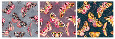 Seamless pattern flying night moths, butterflies.