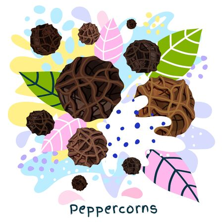 Fresh peppercorns juice splash organic food condiment spice splatter. Spice spicy herbs. Abstract colorful art splatter splash background. Vector hand drawn illustration Ilustração