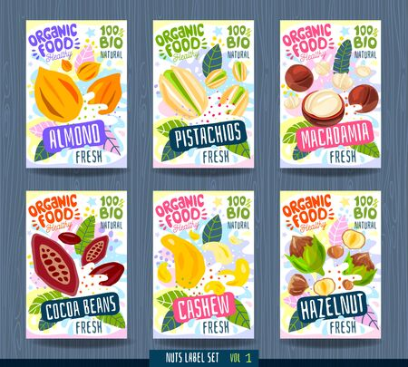 Abstract splash Food label template. Nuts, herbs, fruits, spices, package design. Almond, pistachios, macadamia, cocoa beans cashew hazelnut Organic fresh Vector illustration