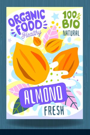 Abstract splash Food label template. Colorful brush stroke. Nuts, vegetables, herbs, spices, package design. Almond. Organic fresh Vector illustration