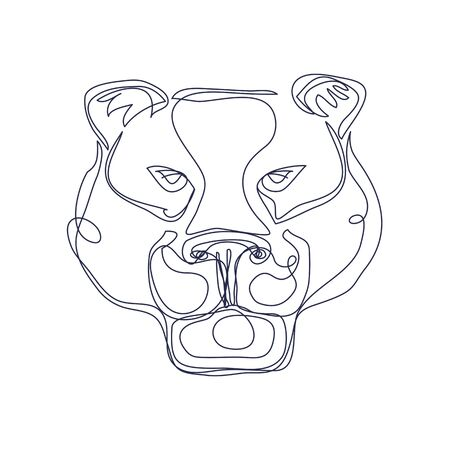 Abstract art wild cat silhouette hand drawn with continuous line. Simple tropical background drawing. Hand drawn vector character line art illustration
