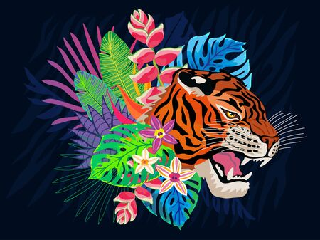 Tiger head roar wild cat in colorful jungle. Rainforest tropical leaves background drawing. Tiger stripes hand drawn vector character art illustration