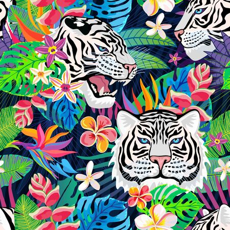 Seamless pattern. White tiger head roar wild cat in colorful jungle. Rainforest tropical leaves background drawing. Fashion textile, fabric. Tiger stripes hand drawn vector character art illustration