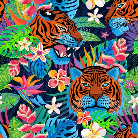 Seamless pattern. Red tiger head roar wild cat in colorful jungle. Rainforest tropical leaves background drawing. Fashion textile, fabric. Tiger stripes hand drawn vector character art illustration