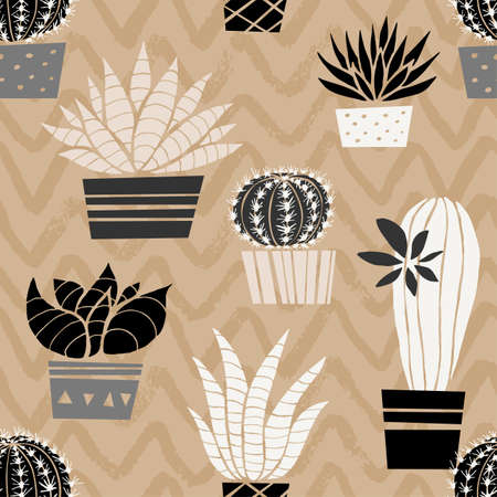 Cactuses succulents wild seamless pattern flowers colorful watercolor bright collections. Cacti beautiful trendy fashion fabric pattern. Hand drawn vector illustration.