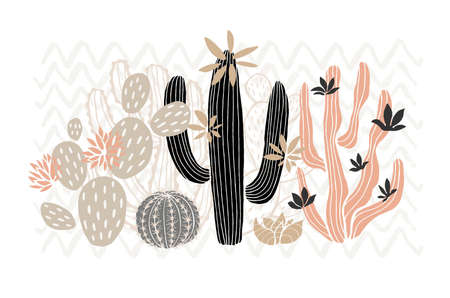 Cactus succulent wild rose flowers tender pink brown pastel color watercolor. Wild beautiful cacti succulents collection. Hand drawn vector illustration Ilustrace