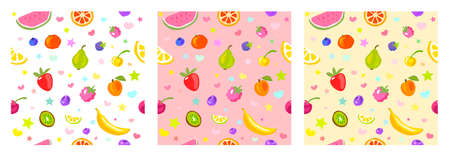 Seamless pattern cute fruits, stars, hearts. Child style, strawberry, raspberry, watermelon, lemon on white, pastel yellow, pink background. Simple clipart elements. Hand drawn vector illustration