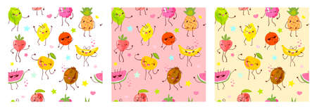 Seamless pattern cute fruit characters. Child style, strawberry, raspberry, watermelon, lemon, banana pastel color background. Kawaii emoji, characters, smile hand drawn vector illustration