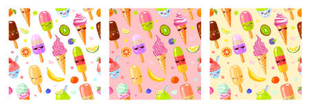 Seamless pattern cute fruit ice cream characters. Child style, strawberry, raspberry, watermelon, lemon, banana pastel color background. Kawaii emoji, characters, smile. Hand drawn vector illustration Ilustrace