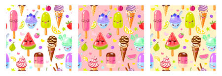 Seamless pattern cute fruit ice cream characters. Child style, strawberry, raspberry, watermelon, lemon, banana pastel color background. Kawaii emoji, characters, smile hand drawn vector illustration