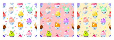 Seamless pattern cute fruit ice cream sorbet characters. Child style, strawberry, raspberry, watermelon, lemon, banana pastel color background. Kawaii emoji, characters, smile vector illustration