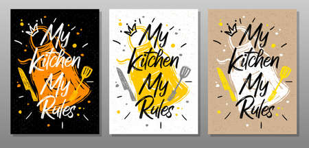 My kitchen, My rules, quote food poster. Cooking, culinary, kitchen, print, utensils, apron, fork, knife, master chef Lettering calligraphy poster chalk chalkboard sketch style Vector illustration Ilustrace