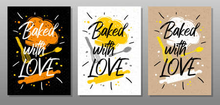 Baked with Love, quote food poster. Cooking, culinary, kitchen, print, utensils, apron, fork, knife, master chef. Lettering calligraphy poster chalk chalkboard sketch style Vector illustration Ilustrace