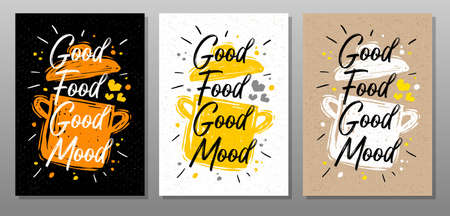 Good food good mood, quote food poster. Cooking, culinary, kitchen, print, utensils, pot, heart, master chef. Lettering, calligraphy poster chalk chalkboard sketch style Vector illustration Ilustrace