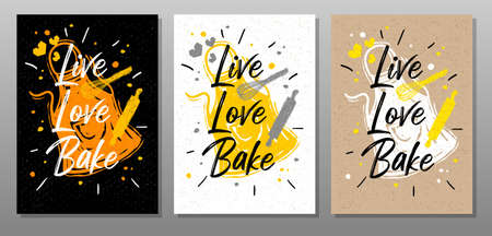 Live, Love, Bake quote food poster. Cooking, culinary, kitchen, print, utensils, apron, master chef. Lettering calligraphy poster chalk chalkboard sketch style Vector illustration