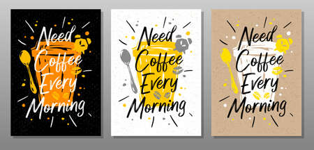 Coffee every morning quote food poster. Cooking, culinary, kitchen, print, utensils. Lettering, calligraphy poster, chalk chalkboard sketch style Vector illustration
