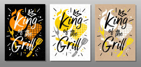 King grill, quote food poster. Cooking, culinary, kitchen, bbq, barbecue, axe, fork, knife, master chef Lettering calligraphy poster chalk chalkboard sketch style Vector illustration Ilustrace