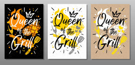 Queen grill, quote food poster. Cooking, culinary, kitchen, bbq, barbecue, axe, fork, knife, master chef Lettering calligraphy poster chalk chalkboard sketch style Vector illustration Ilustrace