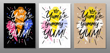 Yum, yummy, quote food poster. Summer, ice cream, sweet, waffle cone, dessert. Lettering, calligraphy poster chalkboard sign sketch style Vector illustration Vetores