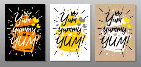 Yum, yummy, phrase, quote food poster. Cooking, culinary, kitchen, pot, love, hearts splash Lettering calligraphy poster chalk chalkboard sketch style Vector illustration