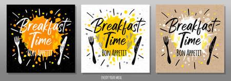 Breakfast time Bon Appetit, enjoy your meal, quote, phrase, food poster, splash, fork, knife. Lettering, sketch doodle style, sign For menu, cafe, restaurant lunch breakfast dinner Vector illustration Ilustrace