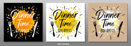Dinner time Bon Appetit, enjoy your meal, quote, phrase, food poster, splash, fork, knife. Lettering, sketch doodle style, sign For menu, cafe, restaurant lunch breakfast dinner Vector illustration