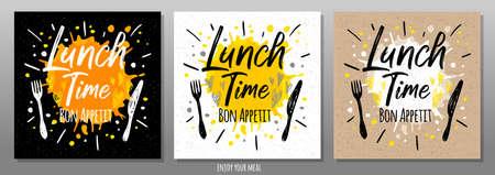 Lunch time Bon Appetit, enjoy your meal, quote, phrase, food poster, splash, fork, knife. Lettering, sketch doodle style, sign For menu, cafe, restaurant lunch breakfast dinner Vector illustration Ilustrace