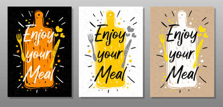 Enjoy your meal, quote phrase food poster. Cooking, culinary, kitchen, print, utensils, cutting board, heart, master chef. Lettering, calligraphy poster chalk chalkboard sketch style Vector illustration