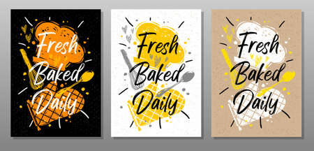 Fresh baked daily quote phrase food poster. Cooking, culinary, kitchen, print, utensils, cutting board, heart, master chef hat. Lettering, calligraphy poster, chalk, chalkboard sketch style Vector illustration