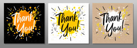 Thank you, quote, phrase, card, poster, banner, splash, hearts. Lettering sketch doodle craft style sign Hand drawn vector illustration Ilustrace