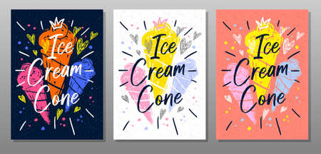 Ice cream cone, quote food poster. Summer, ice cream, sweet, waffle cone, dessert. Lettering, calligraphy poster, chalkboard sign sketch style Vector illustration