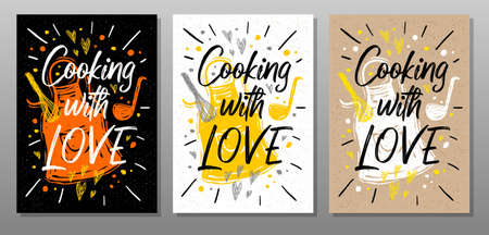 Cooking with love, quote phrase food poster. Cooking, culinary, kitchen, print, utensils, cutting board, heart, master chef. Lettering, calligraphy poster chalk chalkboard sketch Vector illustration