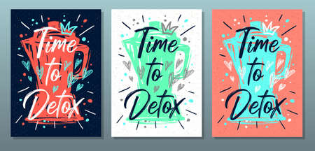 Time to detox, quote food poster. Summer, smoothies, diet, green, healthy, juice, blender, raw, vegan Lettering calligraphy poster chalkboard sign sketch style Vector illustration