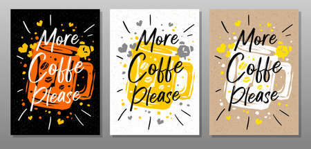 More Coffee Please quote food poster. Mug, cup, cooking, culinary, kitchen, print, utensils. Lettering, calligraphy poster chalk chalkboard sketch style Vector illustration