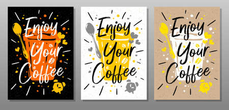 Enjoy Your Coffee quote food poster. Mug, cup, cooking, culinary, kitchen, print, utensils. Lettering, calligraphy poster chalk chalkboard sketch style Vector illustration Ilustrace