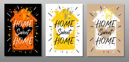 Home sweet home, quote food poster. Cooking, culinary, kitchen, love, hearts, house, master chef. Lettering, calligraphy poster chalk chalkboard sketch style Vector illustration