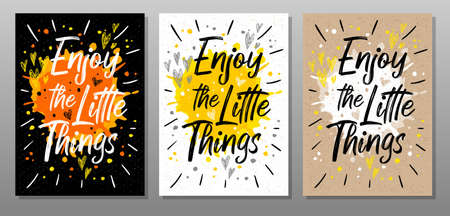 Enjoy the Little Things, quote phrase text poster. Motivation, incentive, splash, love, hearts, drops, rays. Lettering, calligraphy poster chalk chalkboard sketch Vector illustration