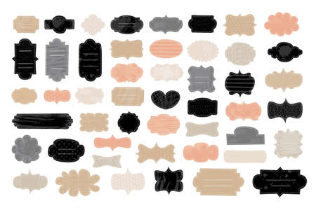 Tags frames shapes label set. Beautiful tender pastel color craft collections. Brush stroke paint elements, strips, curves, waves, hearts, drops textured background. Hand drawn vector