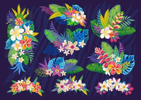 Set of abstract tropical plants, flowers, leaves. Vector design elements. Wildlife colorful floral jungle. Rainforest art background. Hand drawn vector illustration Ilustrace