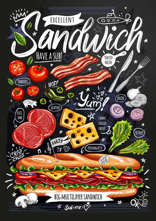 Food poster, ad, fast food, ingredients, menu, sandwich, sub, snack. Sliced veggies, cheese ham bacon Yummy cartoon style isolated Hand drew vector